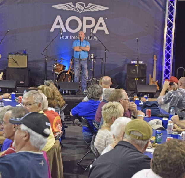AOPA President Mark Baker welcomes Fly-In participants to the Friday evening Barnstormers session at one of the fly-ins in 2016.