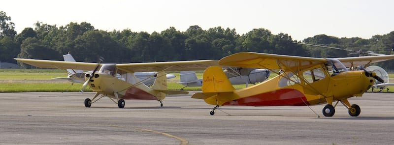 A Champ heavy race: Three vintage Aeronca 7 Champions were among the race planes at the Race for Heroes at Abbeville, Louisiana. (Photo by Lisa F. Bentson)
