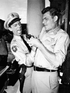 Don Knotts (left) as Barney Fife on the Andy Griffith Show.