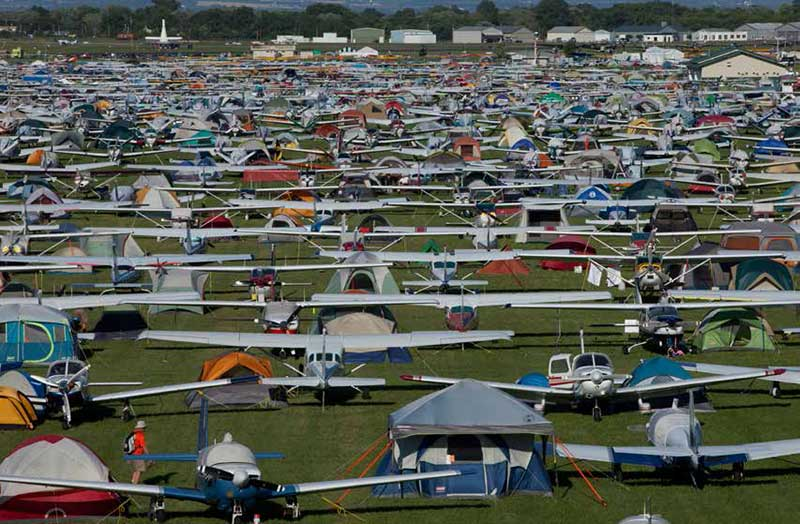 Airplanes of all types as far as the eye can see populate the North 40 camping area.
