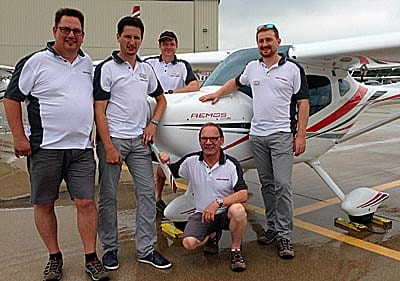 Meet Team Remos from Germany at EAA AirVenture Oshkosh 2016: (L-R) Christian, Daniel, Patrick, Jürgen (kneeling), and Paul.