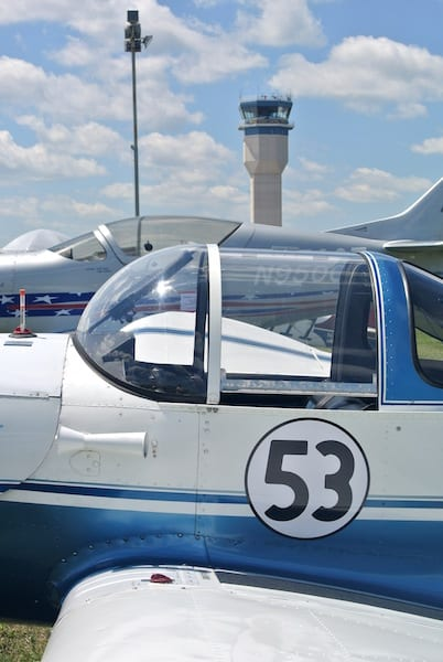 Race 53 at AirVenture in Oshkosh, WI, with a familiar air traffic control tower in the background. For one week each year, this tower is the busiest in the world. (Photo by William E. Dubois)