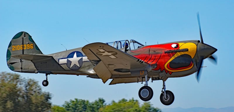 Warhawk Air Museum's TP-40N nicknamed Parrot Head. (Photo by Frederick A. Johnsen)