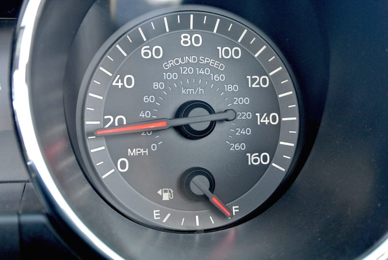 "Mustang ground speed indictor: If you think a P 51 Mustang goes faster, you're right. This is the ""speedometer"" from a Ford Mustang. Even the rental car fleet was in an aviation frame of mind at Reno this year. (Photo by William E. Dubois)"
