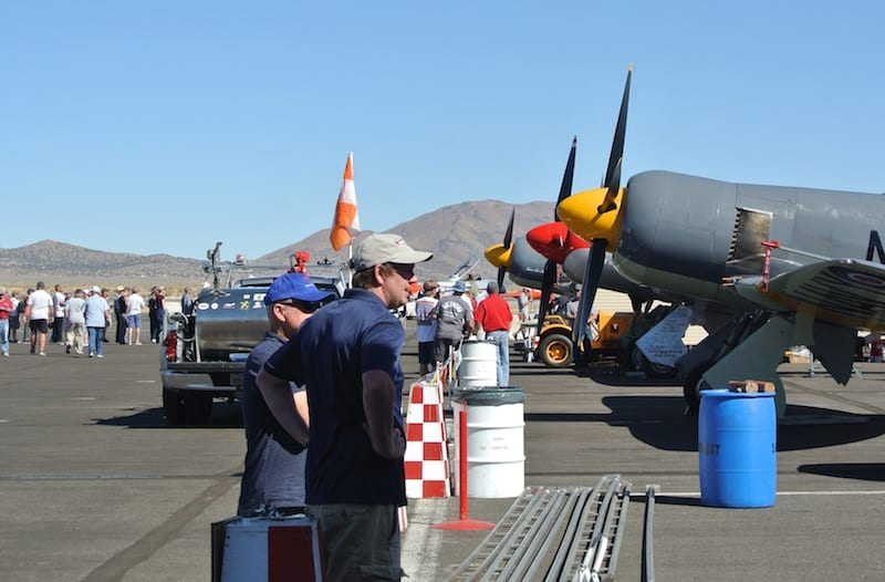 Race pits: Pit passes let race fans get up close and personal with their favorite planes and talk to the pilots and crews. (Photo by William E. Dubois)