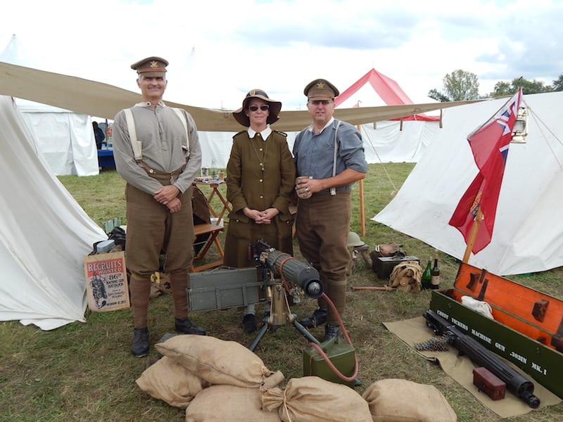 7th Canadian Machine Gun Company re-enactors (l to r) Derek Leopold, Jennifer and David Freeman