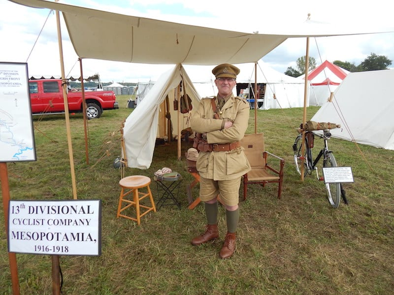 British 13th Divisional Cyclist Company campsite, and re-enactor Keith Ryder