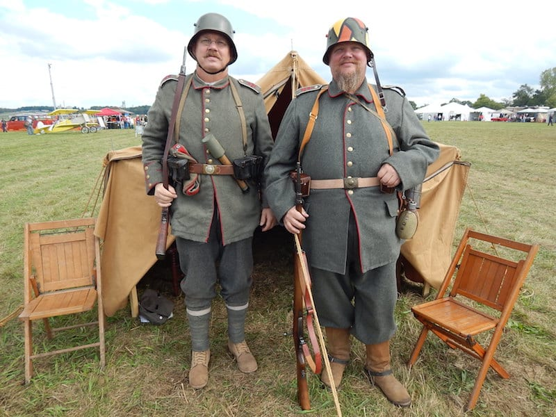 WW I typical German campsite, Infantry Regiment 92, re-enactors Earl and Cole Grimes (l to r)