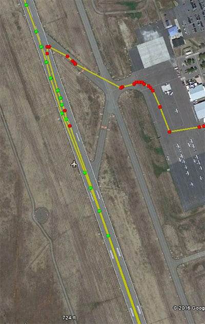 ADS-B Validation Data from the FAA overlaid on Google Earth