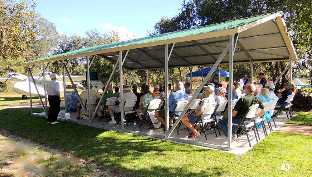 The 20'x30' picnic shelter is often used by aviation groups of all stripes.