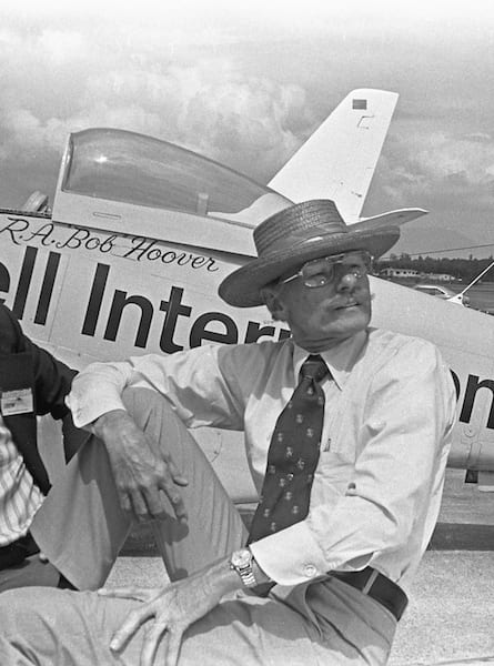 Bob Hoover watched the air show at Abbotsford, BC, in the mid-1970s, his famous yellow P-51 parked behind him. (Photo by Frederick A. Johnsen)