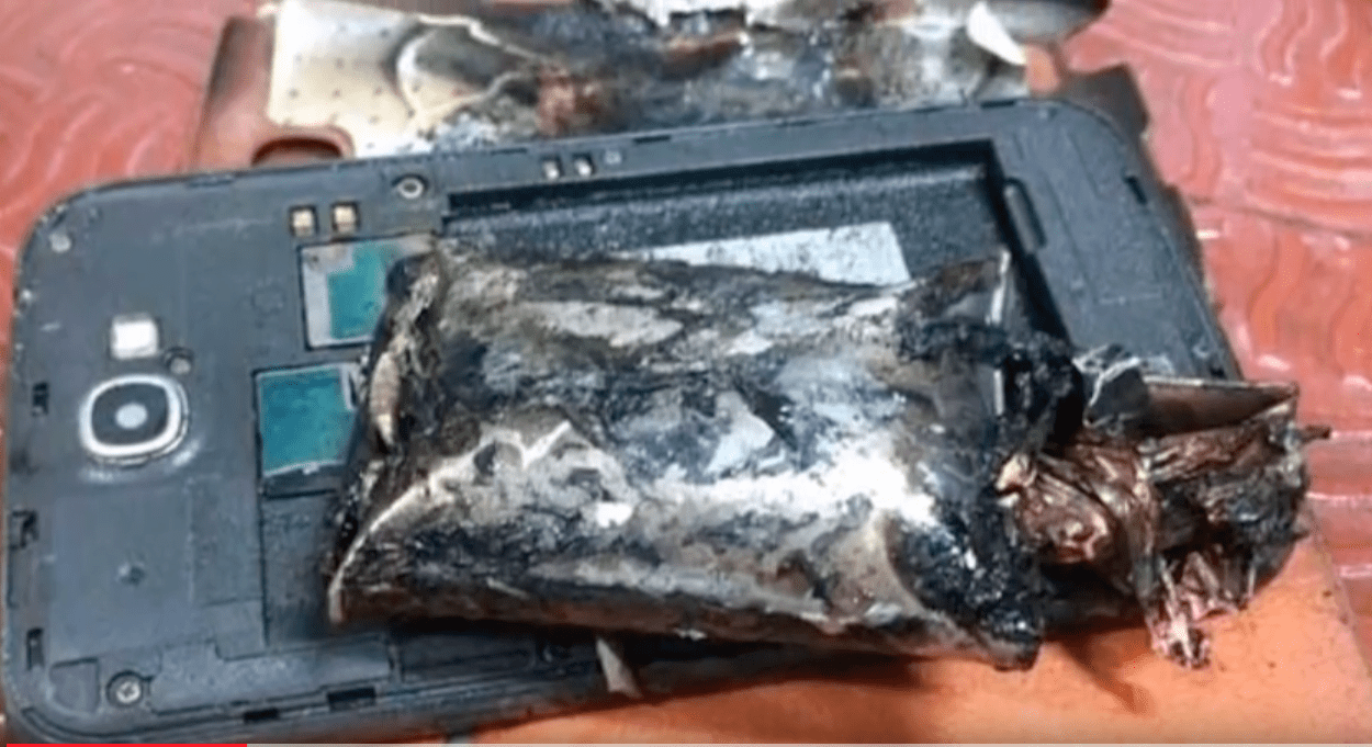 Samsung Galaxy Note 2 that caught on fire during a flight on an airliner. (Photo from YouTube)