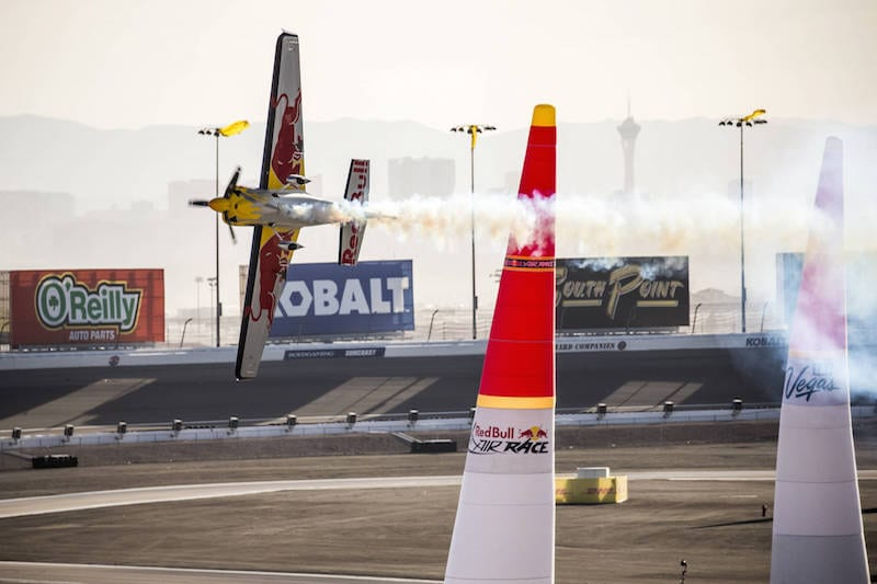 Kirby Chambliss of the United States performs during the finals at the eighth stage of the Red Bull Air Race World Championship at Las Vegas Motor Speedway in Las Vegas, Nevada, United States on October 16, 2016. // Chris Tedesco/Red Bull Content Pool // P-20161017-00413 // Usage for editorial use only // Please go to www.redbullcontentpool.com for further information. //