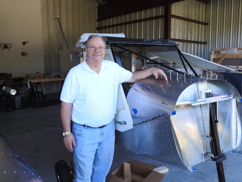Airplane builder John Minatelli shows off his project, a Zenith 750 Cruzer at his hangar at the Bob White Field.