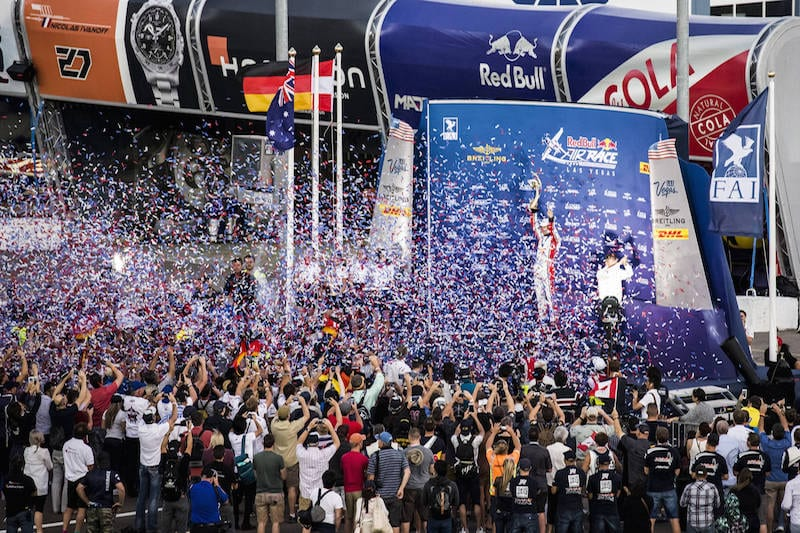 World Champion Matthias Dolderer of Germany celebrates during the Award Ceremony at the eighth stage of the Red Bull Air Race World Championship at Las Vegas Motor Speedway in Las Vegas, Nevada, United States on October 16, 2016. // Chris Tedesco/Red Bull Content Pool // P-20161017-00407 // Usage for editorial use only // Please go to www.redbullcontentpool.com for further information. //