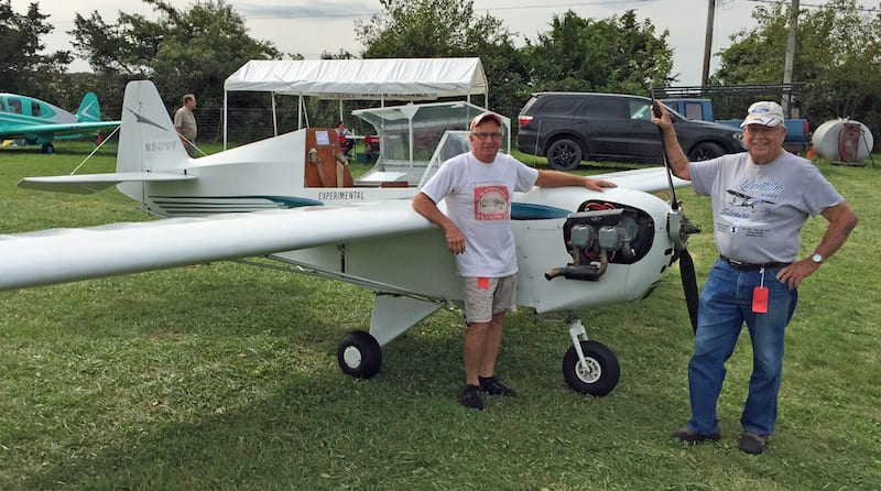 JR Bane and his father John with the Flut-R-Bug at Antique Airfield. (Photo courtesy. (Photo courtesy JR Bane)