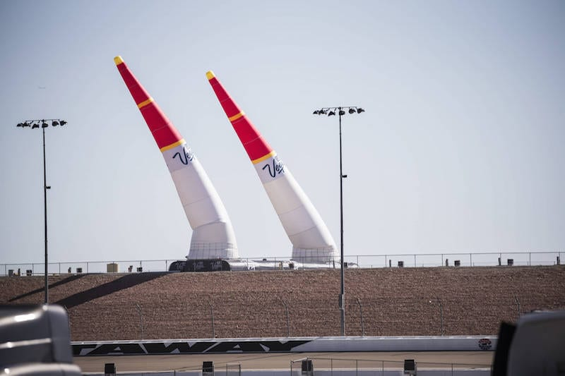 Pylons bend under the strong winds on the race track during the qualifying day at the eighth stage of the Red Bull Air Race World Championship at Las Vegas Motor Speedway in Las Vegas, Nevada, United States on October 15, 2016. // Chris Tedesco/Red Bull Content Pool // P-20161015-01435 // Usage for editorial use only // Please go to www.redbullcontentpool.com for further information. //