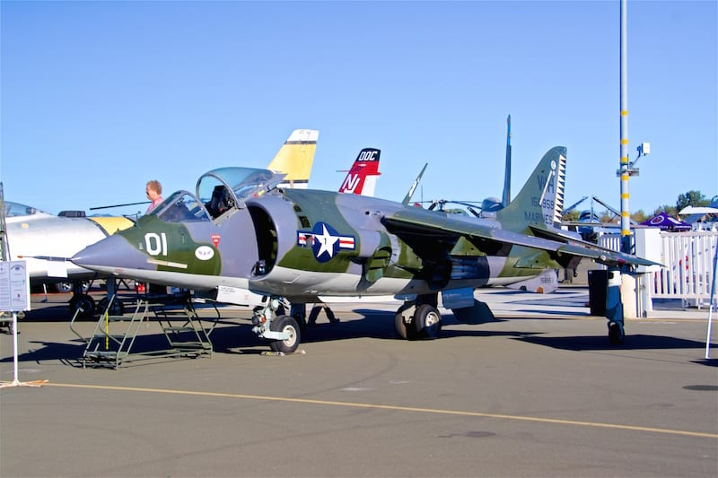 This British-built USMC AV-8C Harrier first flew in 1973, retired in 1985 and joined the Pacific Coast Air Museum collection in 2005.
