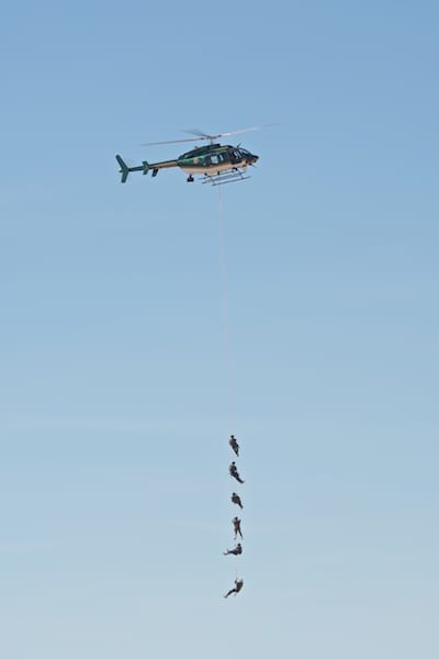 """The local SWAT team in action with air support from the Sonoma County Sheriff's """"Henry One"""""""