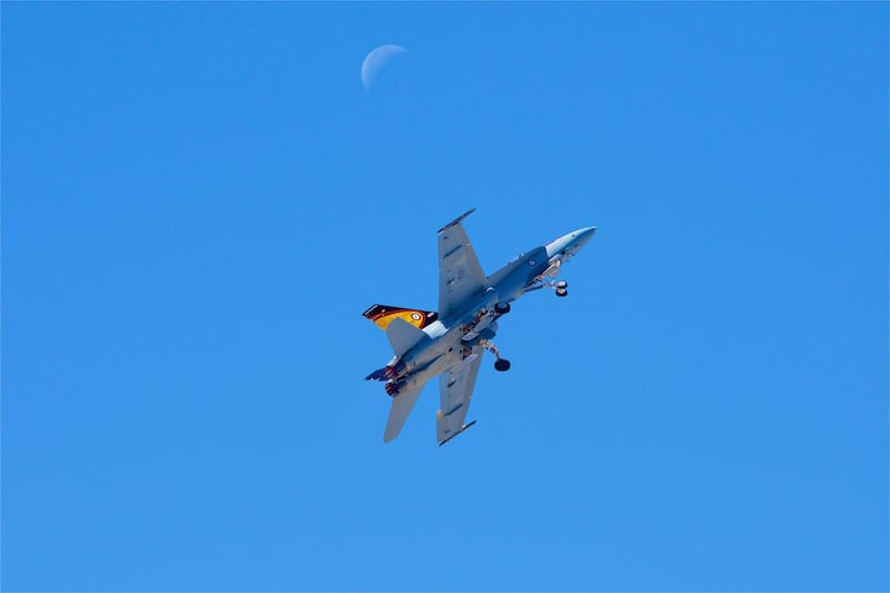 This Royal Canadian Air Force CF-18 Hornet heads for the moon immediately after takeoff as Captain Ryan Kean begins his demonstration.