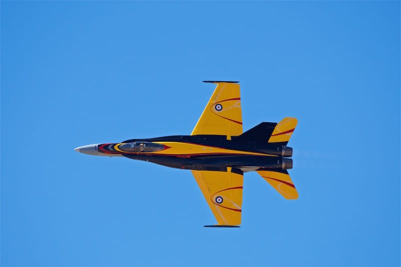 This Royal Canadian Air Force CF-18 Hornet features a custom paint scheme to commemorate the British Commonwealth Air Training Plan that began 75 years earlier to train aircrew during World War II.