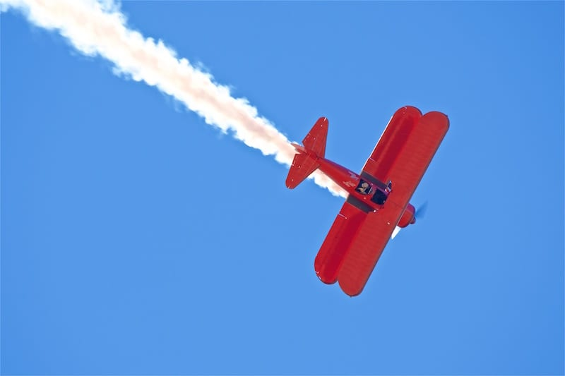 Vicky Benzing performs in her beautiful 1940 Boeing Stearman, in 1946 this aircraft was sold as war surplus for $770!