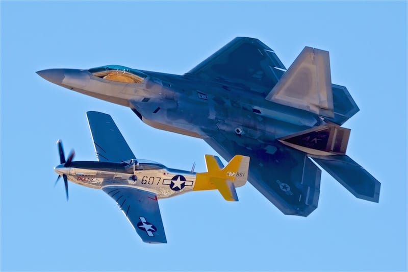 The Heritage Flight for Wings Over Wine Country paired a P-51 Mustang with the mighty F-22 Raptor.