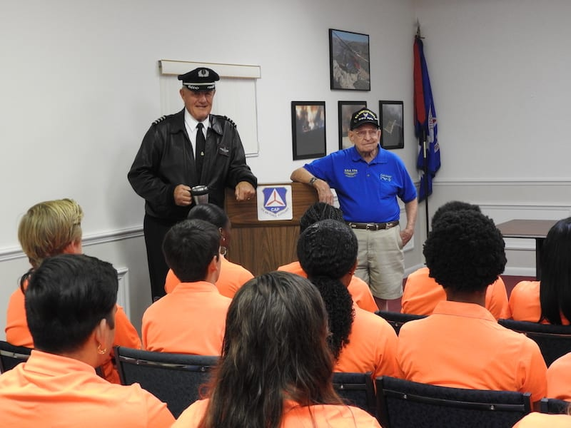 EAA Chapter 534 career pilots Steve Barber and Jack Hallett told the students about their flying careers and aviation job opportunities in the future.