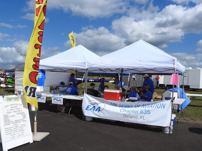 The EAA chapter 635 booth at the DeLand Sport Aviation Showcase in DeLand, Florida.