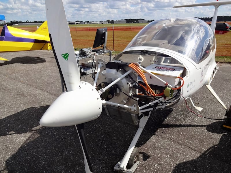 Embry-Riddle Aeronautical University in nearby Daytona showed up with their electrically powered motor glider project. The 100hp electric motor and 300lb lithium-ion battery pack will hopefully produce two hours of flight sometime in 2017.