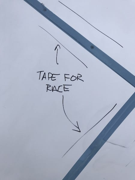 One part-time racer had advice from more knowledgable friends literally written on his plane, showing him where to place sail plane gap tape right before the race. Many SARL racers place gap tape over seams, joints, and access panels right before the race. Small reductions in drag add up quickly when it comes to improving speed. Race 53's paint is too old, however, and all attempts at using various gap tapes have resulted in chips of paint coming off the plane when the tape is removed.