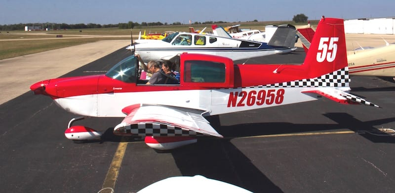 Mike Ely in the left-hand seat, Race 55 readies for the final run of the season: The Rocket 100 at Taylor, Texas. Mike piloted the Grumman AA5A Cheetah around the course at 149.18 mph, finishing the short course in 44 minutes, 13 seconds. (Photo by Lisa F. Bentson)