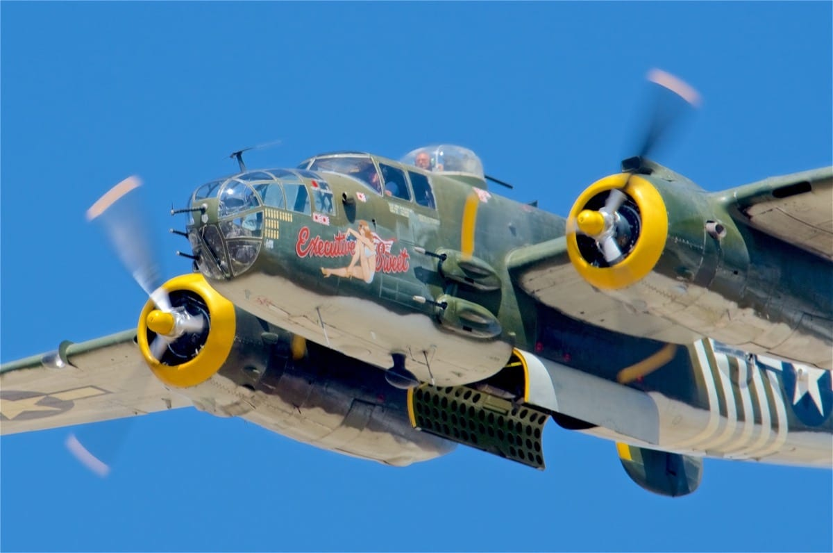 4dc52efff Delivered in 1944, this B-25J Mitchell was utilized for Stateside crew  training, converted to military VIP transport, used as a crop sprayer, ...