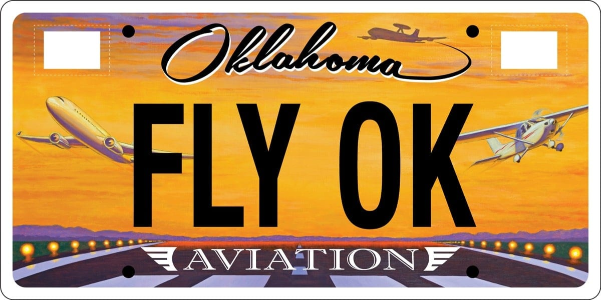 Oklahoma unveils new aviation-themed license plate