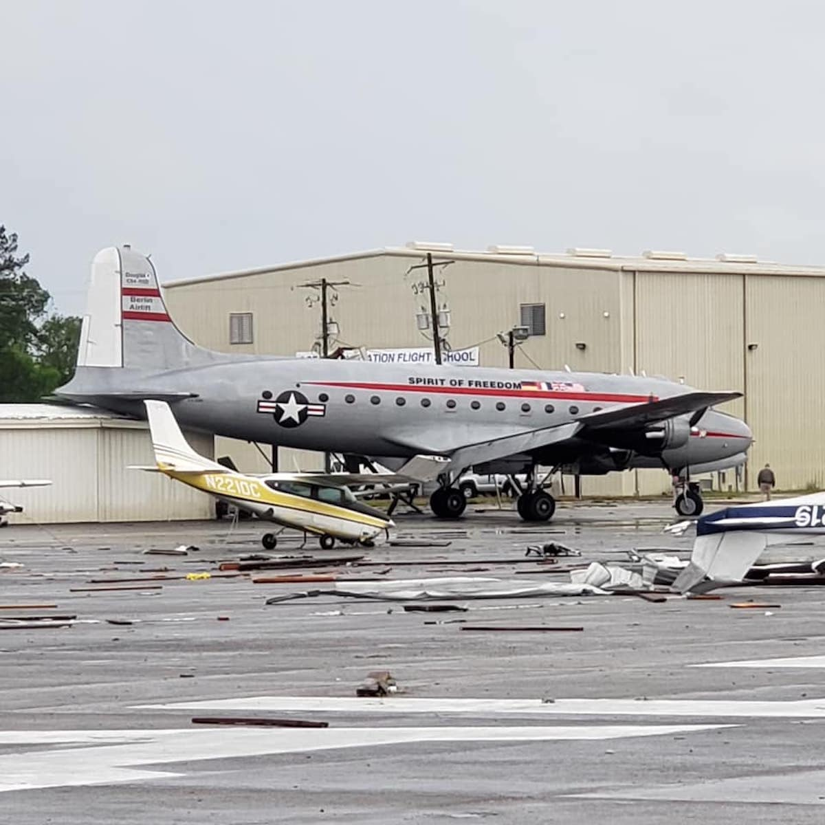 Candy Bomber C-54 damaged by tornadoes