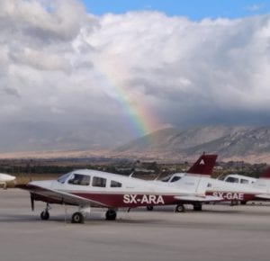 Catch the rainbow: Greece's Megara Airport, PA28 aircraft. A day after rain.