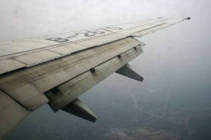 A fully extended double slotted fowler flap on a Boeing 737-800.